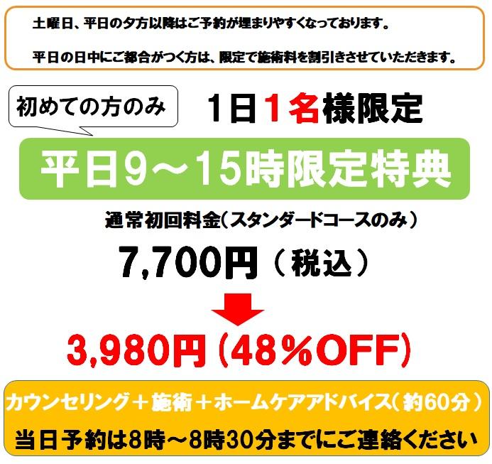 平日(土曜日を除く)割引限定1名様48%OFF3980円