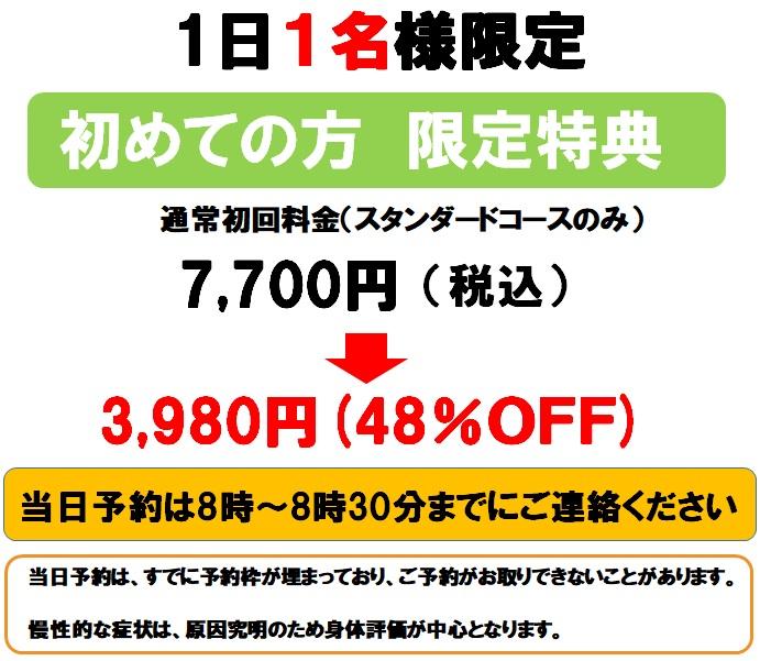 割引限定1名様48%OFF3980円