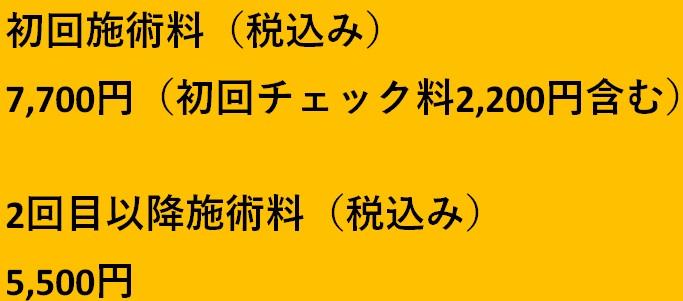 施術料金(税込み) 初回7700円 2回目以降5,500円